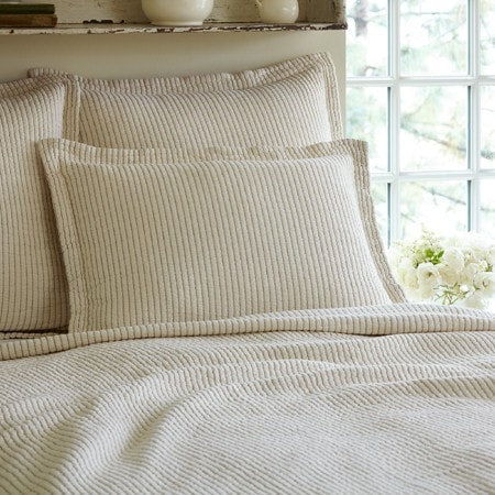 Hudson Cream Stripe Matelasse Standard Sham - Retro Barn Country Linens - 1