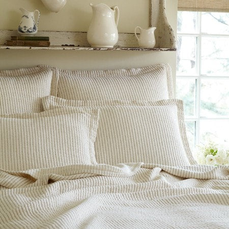 Hudson Cream Stripe Matelasse Quilt - Retro Barn Country Linens - 1