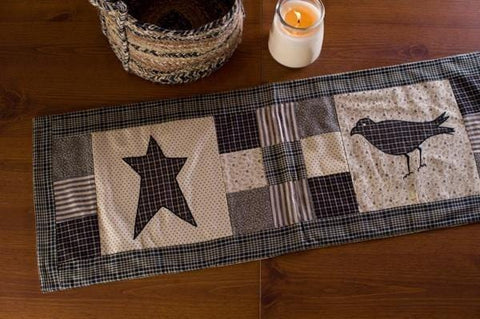 "Kettle Grove Crow and Star Runner 36"" - Retro Barn Country Linens"