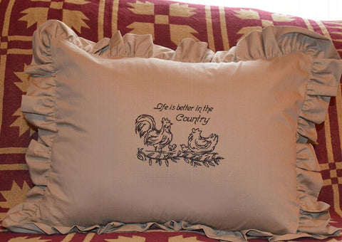 Life Is Better In The Country Embroidered Pillow - Retro Barn Country Linens - 1