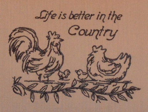 Life Is Better In The Country Embroidered Pillow - Retro Barn Country Linens - 2