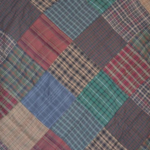 Lincoln Plaid Hand Quilted Bedspread Quilt - Retro Barn Country Linens - 3