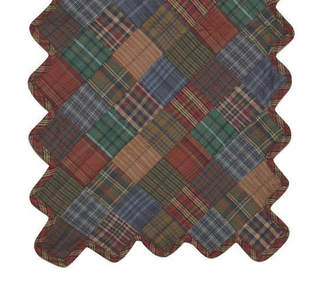 Lincoln Plaid Quilted Table Runner - Retro Barn Country Linens - 1