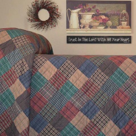 Lincoln Plaid Hand Quilted Bedspread Quilt