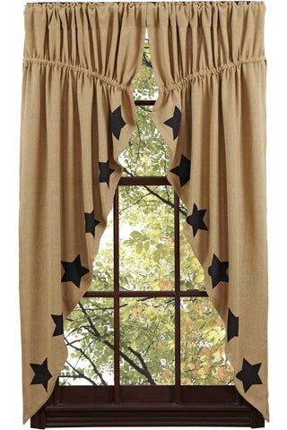 Burlap Natural Black Stencil Star Prairie Curtain - Retro Barn Country Linens