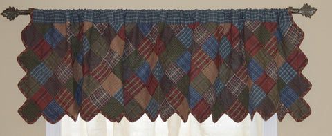 Lincoln Plaid Patchwork Valance - Retro Barn Country Linens - 1