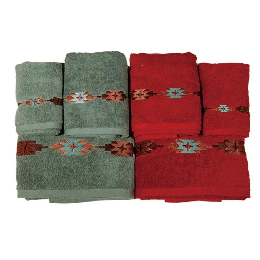 Embroidered Navajo Bath Towel Set Retro Barn Country Linens