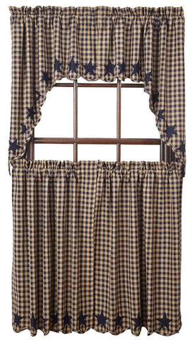 Navy Star Tier Set - Retro Barn Country Linens - 3