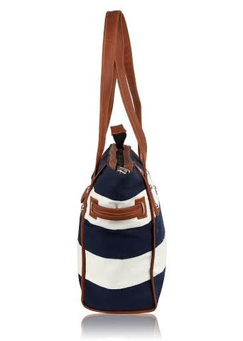 Navy Stripe Town and Country Bag - Retro Barn Country Linens - 5
