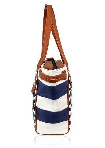 Navy Geo Town and Country Bag - Retro Barn Country Linens - 5