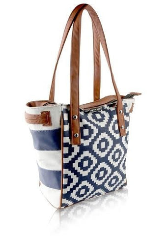 Navy Geo Town and Country Bag - Retro Barn Country Linens - 1