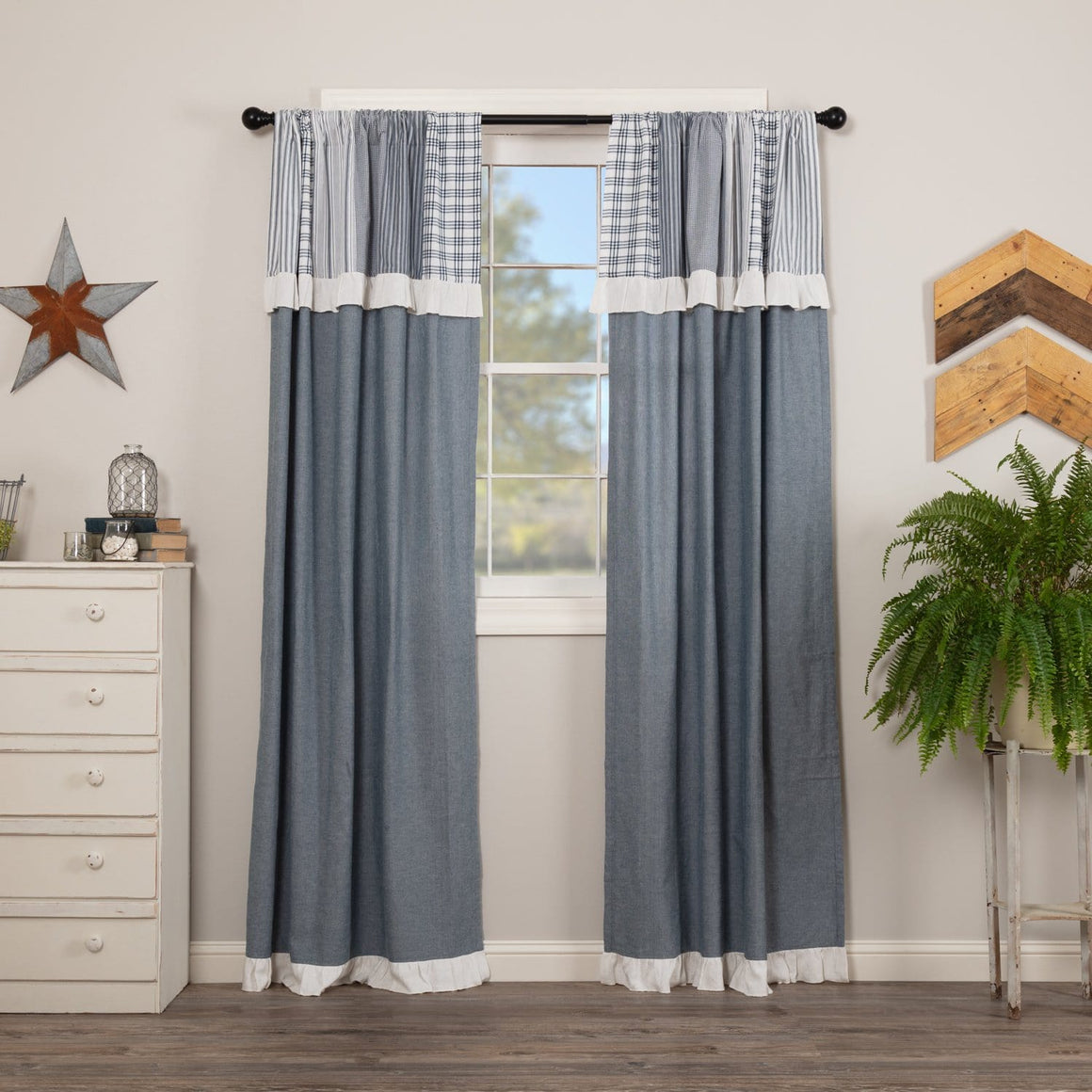 "Sawyer Mill Blue 84"" Panel Set with Attached Patchwork Valance"