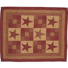 Ninepatch Star Quilted Throw / Wallhanging - Retro Barn Country Linens