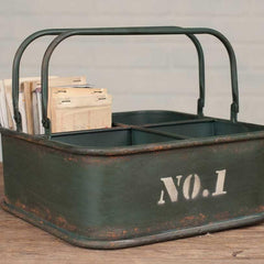 Industrial Style Metal Storage Bin - Retro Barn Country Linens