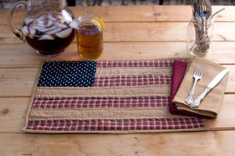 Patriotic Patch Flag Placemat Set - Retro Barn Country Linens