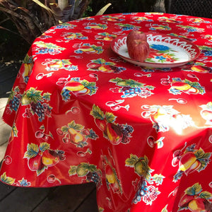 "Pears and Apples 68"" Round Oilcloth Tablecloth"