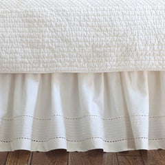 "Tailored Pinefore Bedskirt in Cream 18"" - Retro Barn Country Linens"