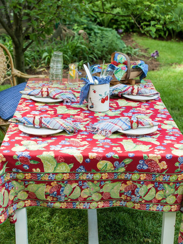 Red Fruit Medley Tablecloth - Retro Barn Country Linens - 1