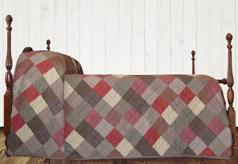 Rosewood Hand Quilted Bedspread Quilt - Retro Barn Country Linens - 1