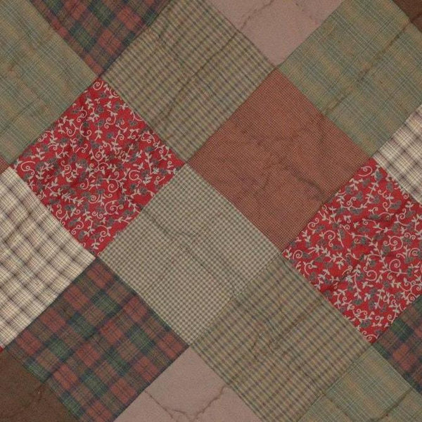 Vintage Style Bedspread Rosewood Quilted Patchwork