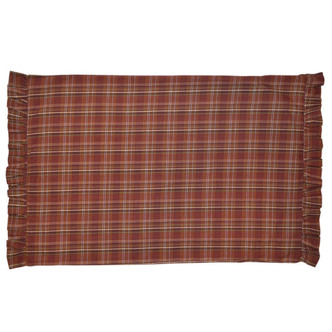 Rust Plaid Ruffled Pillow Case Set