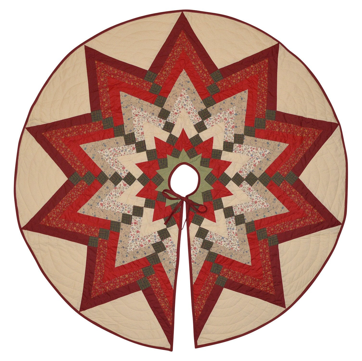 Quilted Country Christmas Tree Skirt - Starburst Tree ...