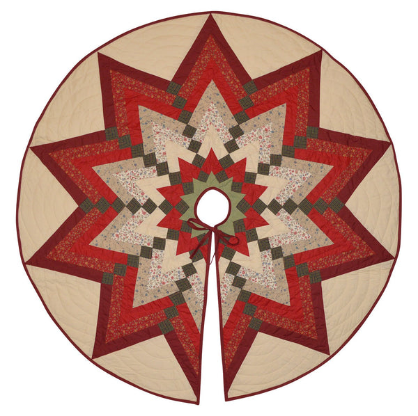 Quilted Country Christmas Tree Skirt Starburst Tree