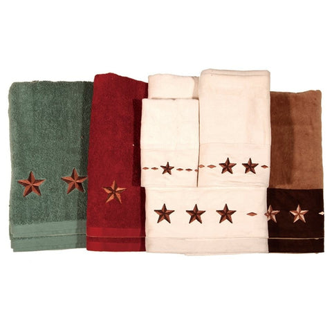 Embroidered Star Bath Towel Set   Retro Barn Country Linens ...