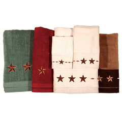 Embroidered Star Bath Towel Set - Retro Barn Country Linens