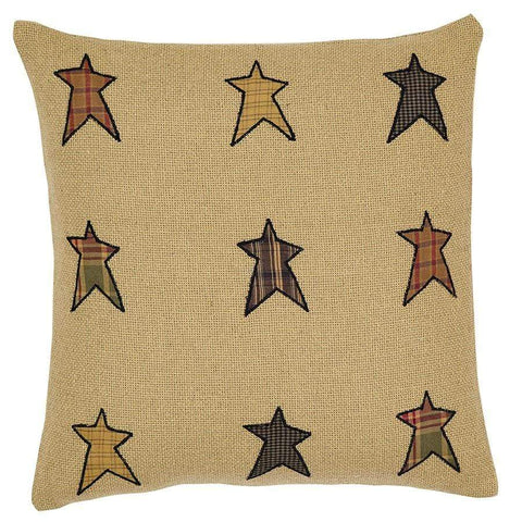 Stratton Burlap Applique Star Pillow - Retro Barn Country Linens - 1