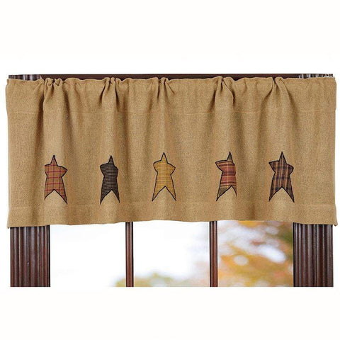 Stratton Burlap Applique Star Valance - Retro Barn Country Linens - 1