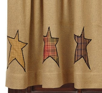 "Stratton Burlap Applique Star 84"" Panel Set - Retro Barn Country Linens - 2"
