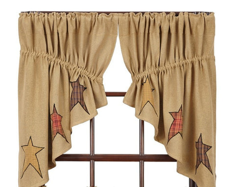 Stratton Burlap Applique Star Prairie Swag - Retro Barn Country Linens