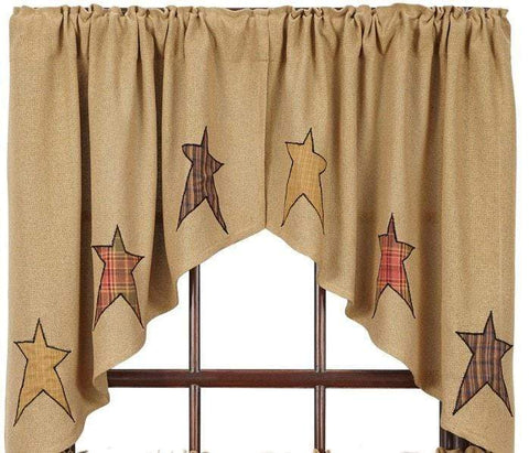 Stratton Burlap Applique Star Swag - Retro Barn Country Linens