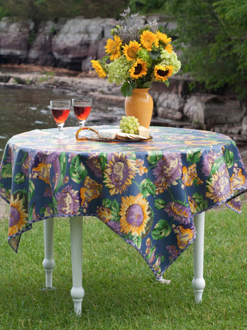 Sunflower Oilcloth Tablecloth   Retro Barn Country Linens ...