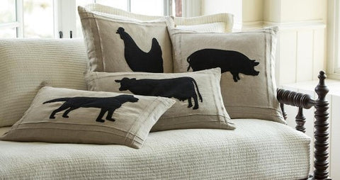 Farmhouse Silhouette Pillows - Retro Barn Country Linens - 1