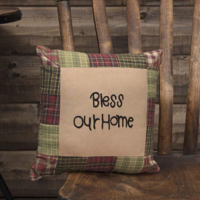 "Tea Cabin ""Bless Our Home"" Pillow"