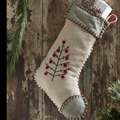 Tidings Embroidered Stocking - Retro Barn Country Linens - 1