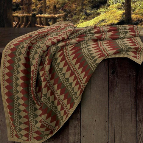 Wilderness Ridge Knitted Throw - Retro Barn Country Linens - 1