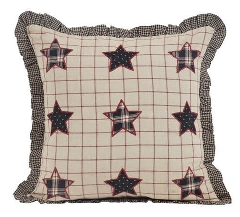 Bingham Star Fabric Toss Pillow with Applique Stars - Retro Barn Country Linens