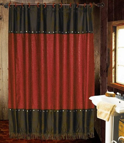 Cheyenne Red Shower Curtain - Retro Barn Country Linens - 1