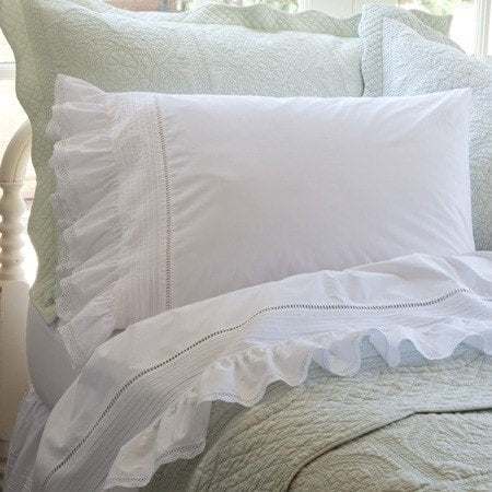 Prairie Crochet Ruffled Sheet Set - Retro Barn Country Linens - 1