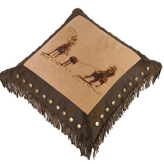 Embroidered Team Roping Pillow