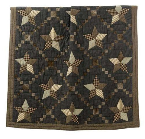 Farmhouse Star Quilted Throw / Wallhanging - Retro Barn Country Linens - 2