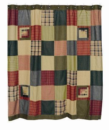 Tea Cabin Patchwork Shower Curtain - Retro Barn Country Linens