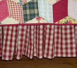 "Homespun Bedskirt 14"" - 21"" - Retro Barn Country Linens - 8"