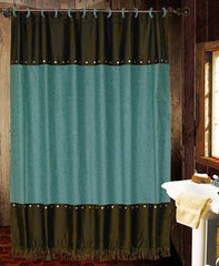 Cheyenne Turquoise Shower Curtain - Retro Barn Country Linens - 1
