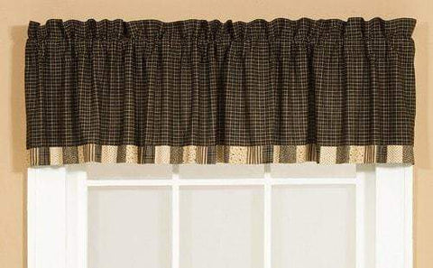 Kettle Grove Patchwork Border Valance - Retro Barn Country Linens - 1