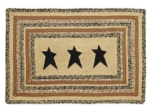 Kettle Grove Rectangle Braided Rug With Stars - Retro Barn Country Linens