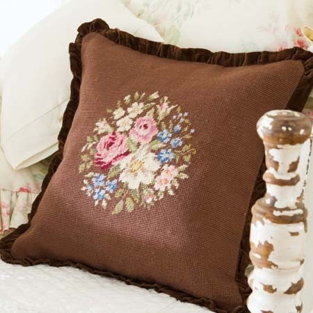 Bronte Needlepoint Pillow - Retro Barn Country Linens